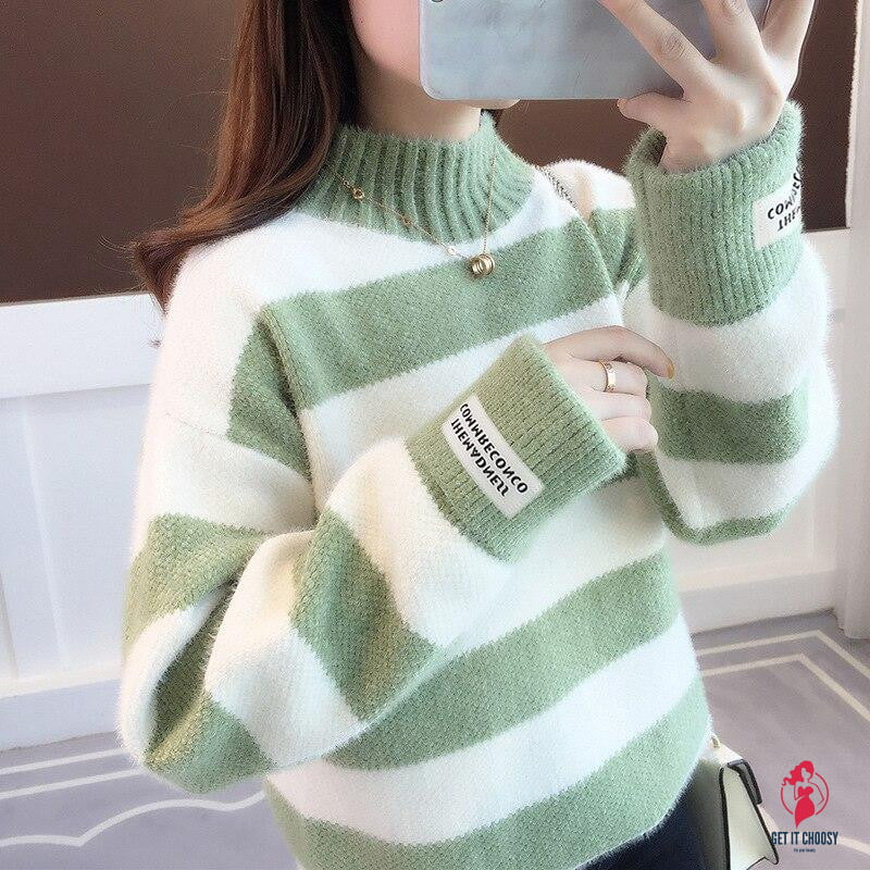 Sweater Women Turtleneck Pullover Jumper Stripe Thick Sweater Imitated Mink Wool Sweater Sweter Women Clothes