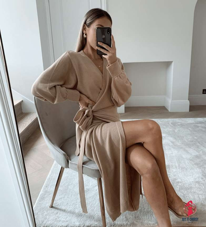 Long Women Knitted Wrap Dress Autumn Winter Oversize Elegant Day Dress Sexy V Neck Knitwear Robe 2020 Ladies Clothes