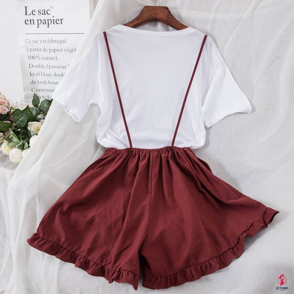 Women's Solid Color Simple T-shirt + Suspender Wide Leg Shorts Two-piece Female Shorts Set by Getitchoosy
