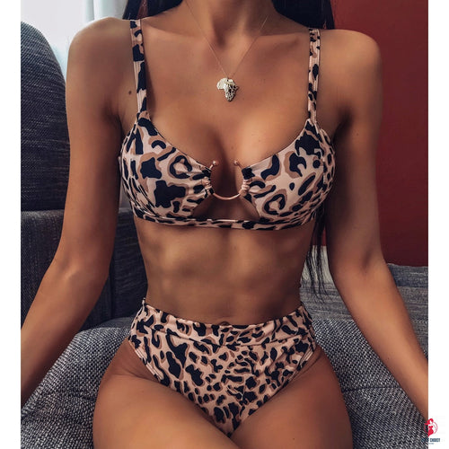 Leopard Printed Push up High Waist Swimsuit by Getitchoosy