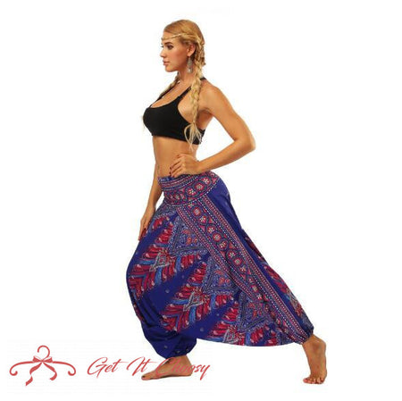 Red galaxy floral Yoga Pants by Getitchoosy