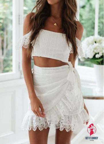 Sexy Lace embroidery Tube Top Women Party Dress Elegant Ruffled Hollow Out Short Dress Summer Lady White Dress