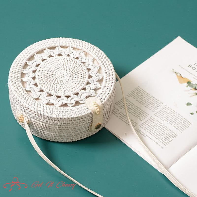 White Round Rattan Bags For Women Boho Beach Crossbody Bag Straw Handmade Woven Circle Shoulder Bag Female Handbags by Getitchoosy
