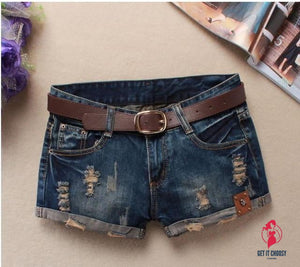 Mini Shorts Women'S Rivet Holes Jeans Low Waist Shorts Without Belt Ripped Denim Short by Getitchoosy