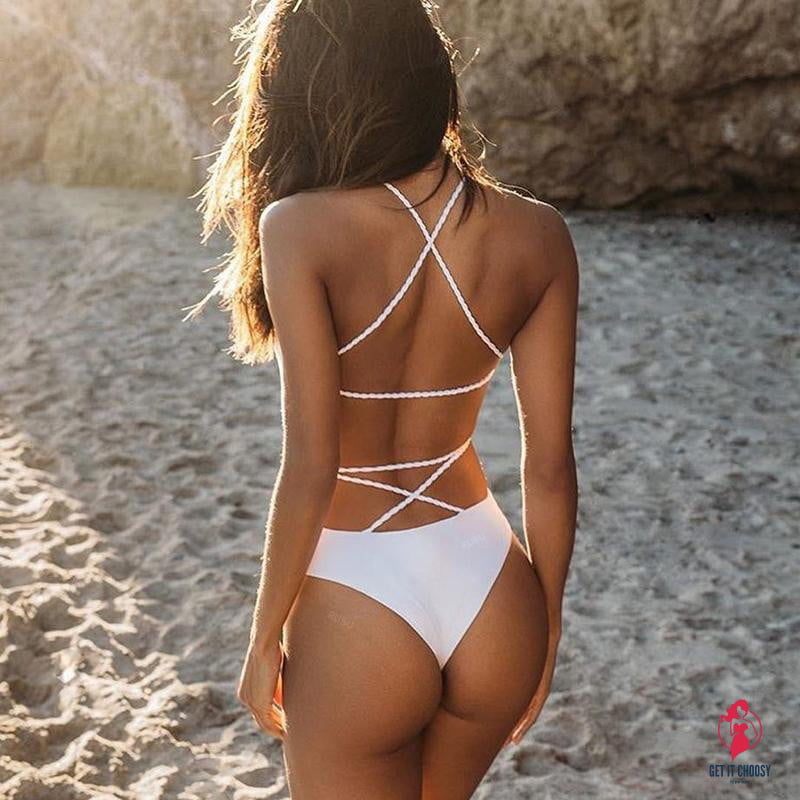 Summer Sexy Bandage One-piece Swimsuit bikini Lace Up Backless Women Swimwear Bathing Suits Push Up Swimming Suit Monokini by Getitchoosy