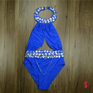 High Quality Pareo Rhinestone Diamond Crystal One Piece Swimsuit Cut Out Swimwear Women Biquini Monokini High Cut Bathing Suit by Getitchoosy