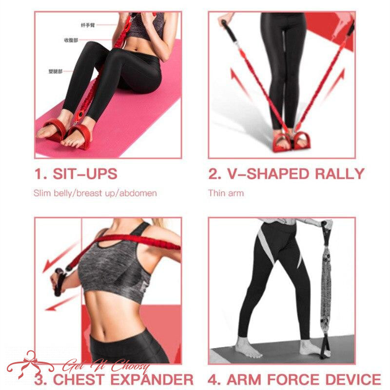11Pcs Multifunction Sit-up Resistance Band 4-Tube Latex Elastic Yoga Pull Rope Expander Fitness Equipment