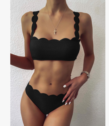 Swimsuits Scalloped Edge Swimwear Women Black Bandeau Bathing Suit Women Solid Biquini Beach Wear