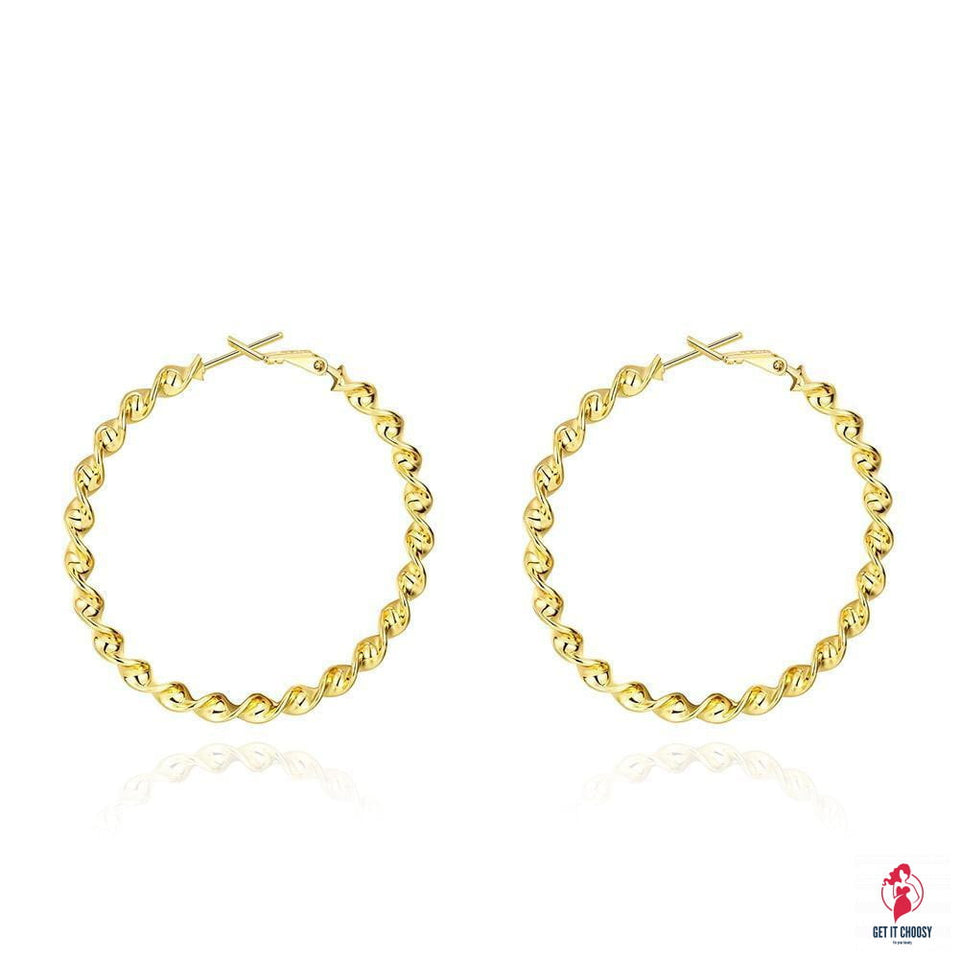 50mm Twist Hoop Earring in 18K Gold Plated by Getitchoosy