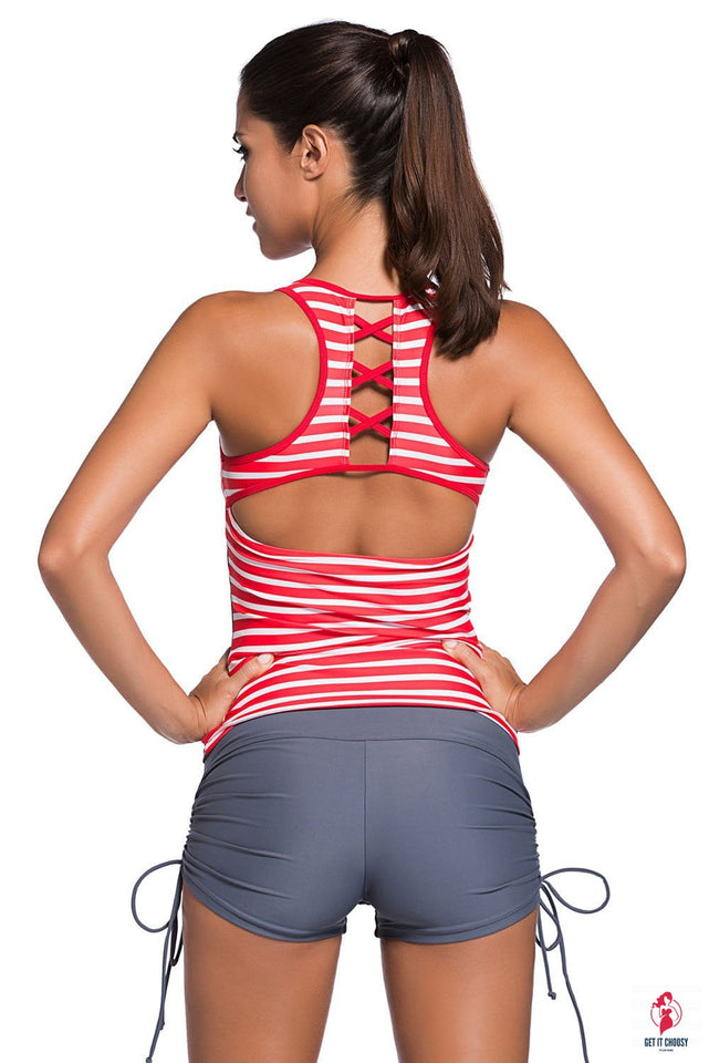 Red Active Striped Racerback Tankini and Swim by Getitchoosy