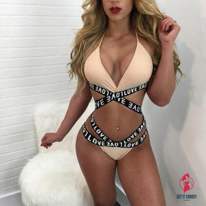 Alluring Womens Letter Printed Divided Body Bikini by Getitchoosy