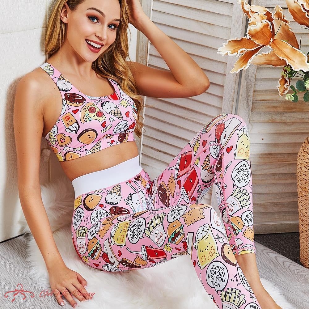 Cartoon Food Printed Pink Two Piece Set Fitness Women Crop Top and Pants Set Ladies 2 Piece Outfits Workout Outfits Matching Set by Getitchoosy