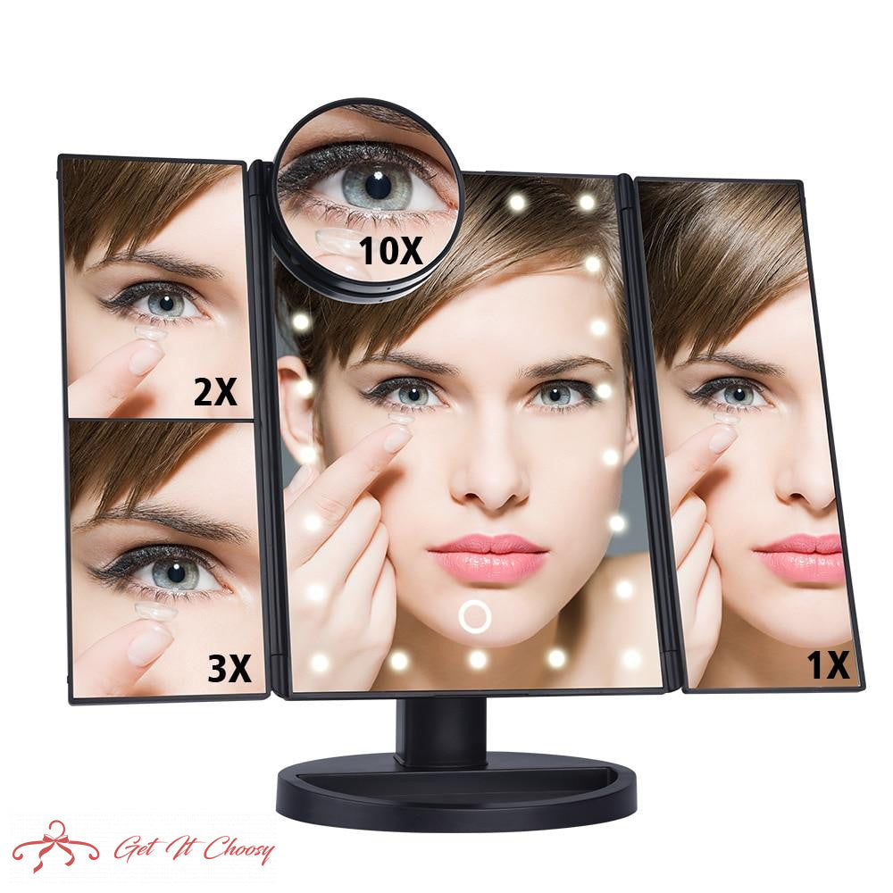 LED Touch Screen 22 Light Makeup Mirror Table Desktop Makeup 1X/2X/3X/10X Magnifying Mirrors Vanity 3 Folding Adjustable Mirror by Getitchoosy