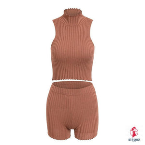 Sexy knitting two-piece suit playsuit rompers Women streetwear bodycon top playsuit Summer elegant soft short rompers by Getitchoosy
