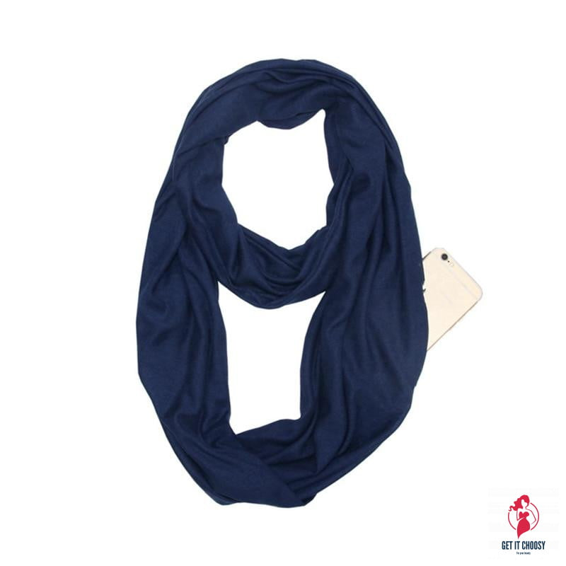 Unisex Loop Scarves for Women Girls Lightweight Convertible Infinity Scarf Wrap with Hidden Zipper Pocket Stretchy Travel Scarf