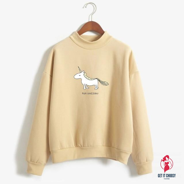 Run Unicorn Hoodies Women's Long Sleeve Fleece Turtleneck Sweatshirt Kawaii Unicorn Print Harajuku Casual Pullover by Getitchoosy