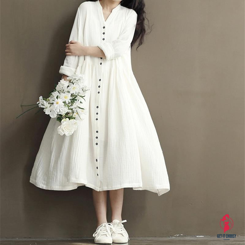 Cotton Linen White Color Women Dress 2020 Spring New Long Sleeve Stand Neck Loose Bat Sleeve Irregular Dresses by Getitchoosy