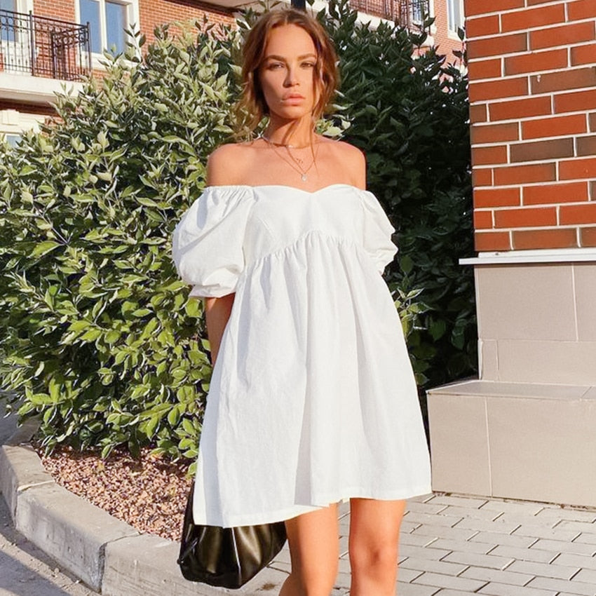 Sexy Off Shoulder White Women Dress Cotton Big Puff Sleeve Dress Short A-line Summer Mini Dress Ladies Pleated Loose