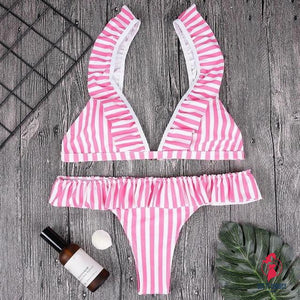Bikinis Set Sexy Women Swimwears Stripe printing by Getitchoosy