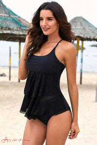 Black Lace Halter U Neck Ruffled Layered Tankini by Getitchoosy