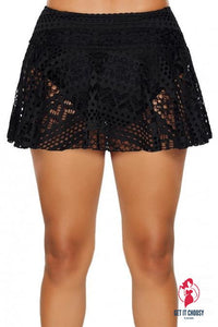 Black Crochet Lace Skirted Bikini Bottom by Getitchoosy