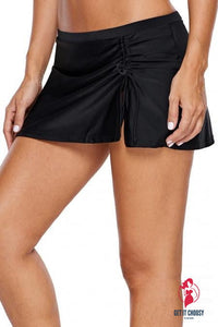 Black Ruched Side Vent Detail Swim Skirt by Getitchoosy