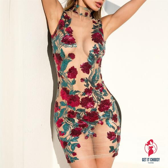 Sexy rose embroidery mesh hollow mini dress by Getitchoosy