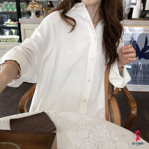 Tops Blouses White Loose New women's All-match Good Quality Spring new women's large size loose long cotton linen blouse by Getitchoosy