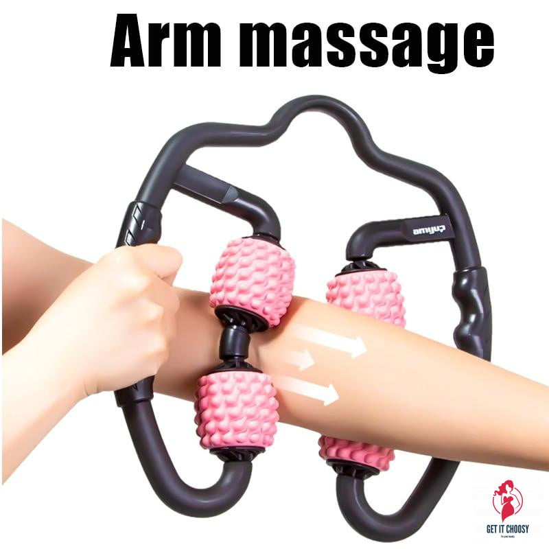 U Shape Trigger Point Massage Roller for Arm Leg Neck Muscle Tissue for Fitness Gym Yoga Pilates Sports 4 Wheel by Getitchoosy