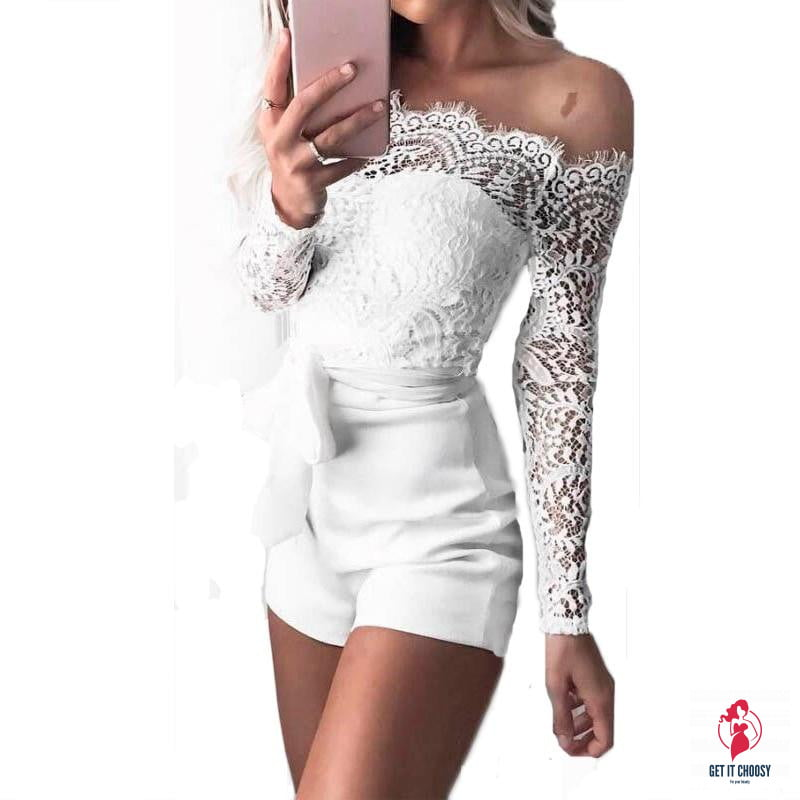 Women ladies summer autumn off shoulder sexy playsuits fashion long sleeve sheer lace patchwork hollow bandage skinny playsuits by Getitchoosy