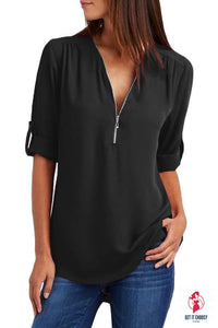 Casual V Neck Zip up Half Sleeve Black Blouse by Getitchoosy