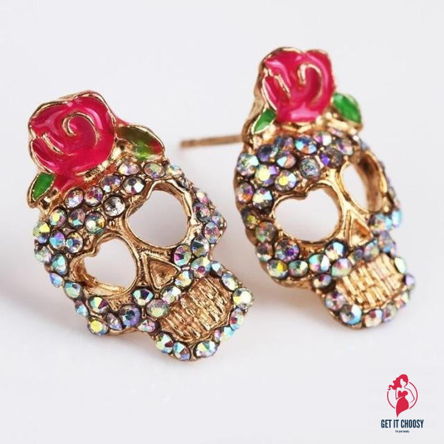 Cute Pink Rose Rhinestone Earrings Novel Style by Getitchoosy