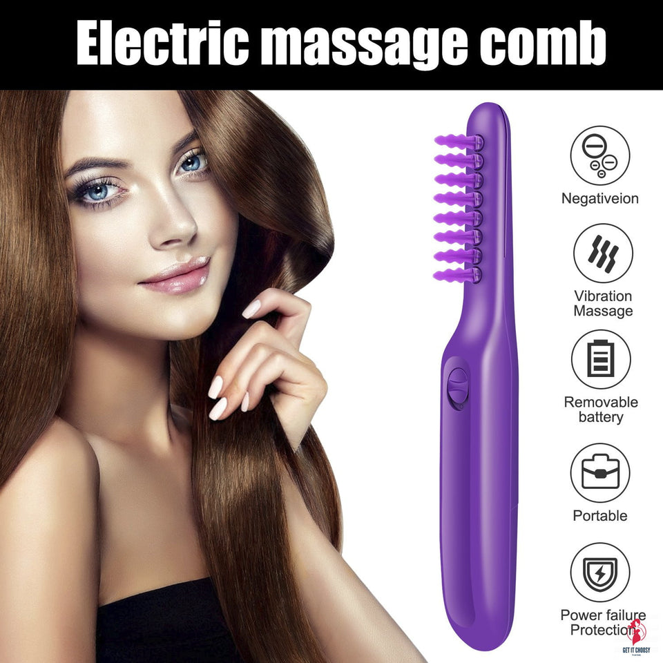 Portable Electric Detangling Wet or Dry Tame The Mane Electric Detangling Brush with Brush Cover, Adults & Kids by Getitchoosy