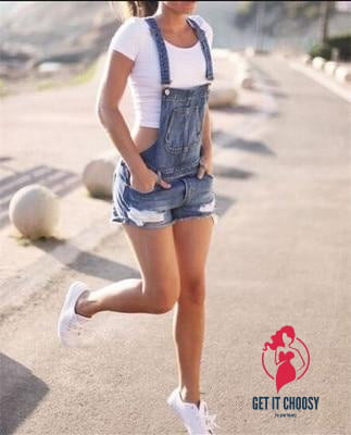 Women Summer Denim Bib Overalls Jeans Shorts Jumpsuits And Rompers Playsuit by Getitchoosy