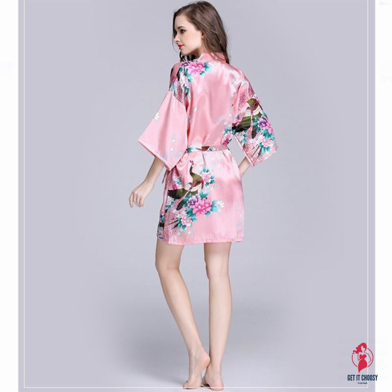 Women Faux Silk Robe Satin Wedding Bride Robe Large Size Sexy Floral Bathrobe Short Nightwear Women Pajamas Kimono - Get It Choosy