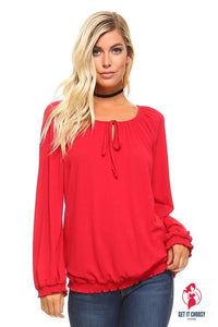 Women's Long Sleeve Solid Peasant Top by Getitchoosy