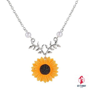 Delicate Sunflower Pendant Necklace For Women Creative Imitation Pearls Jewelry Necklace Clothes Accessories by Getitchoosy