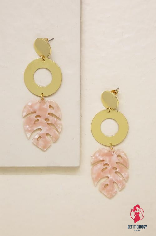 Tropics Pink Resin Palm Leaf & 18kt Gold Plated by Getitchoosy