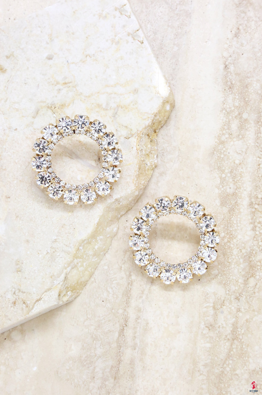 Large Crystal and Gold Circle Stud Earring by Getitchoosy