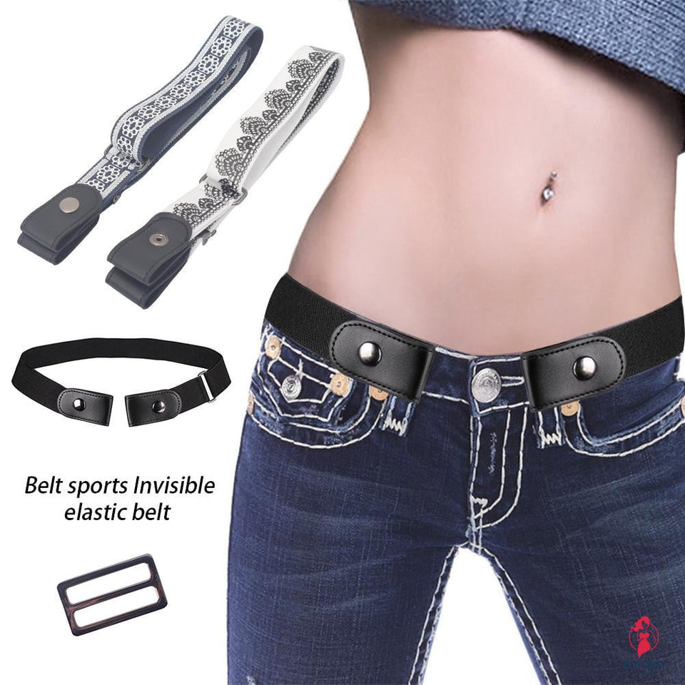 Buckle-free Stretch Belt Invisible Casual Elastic Waist Leather Belt by Getitchoosy