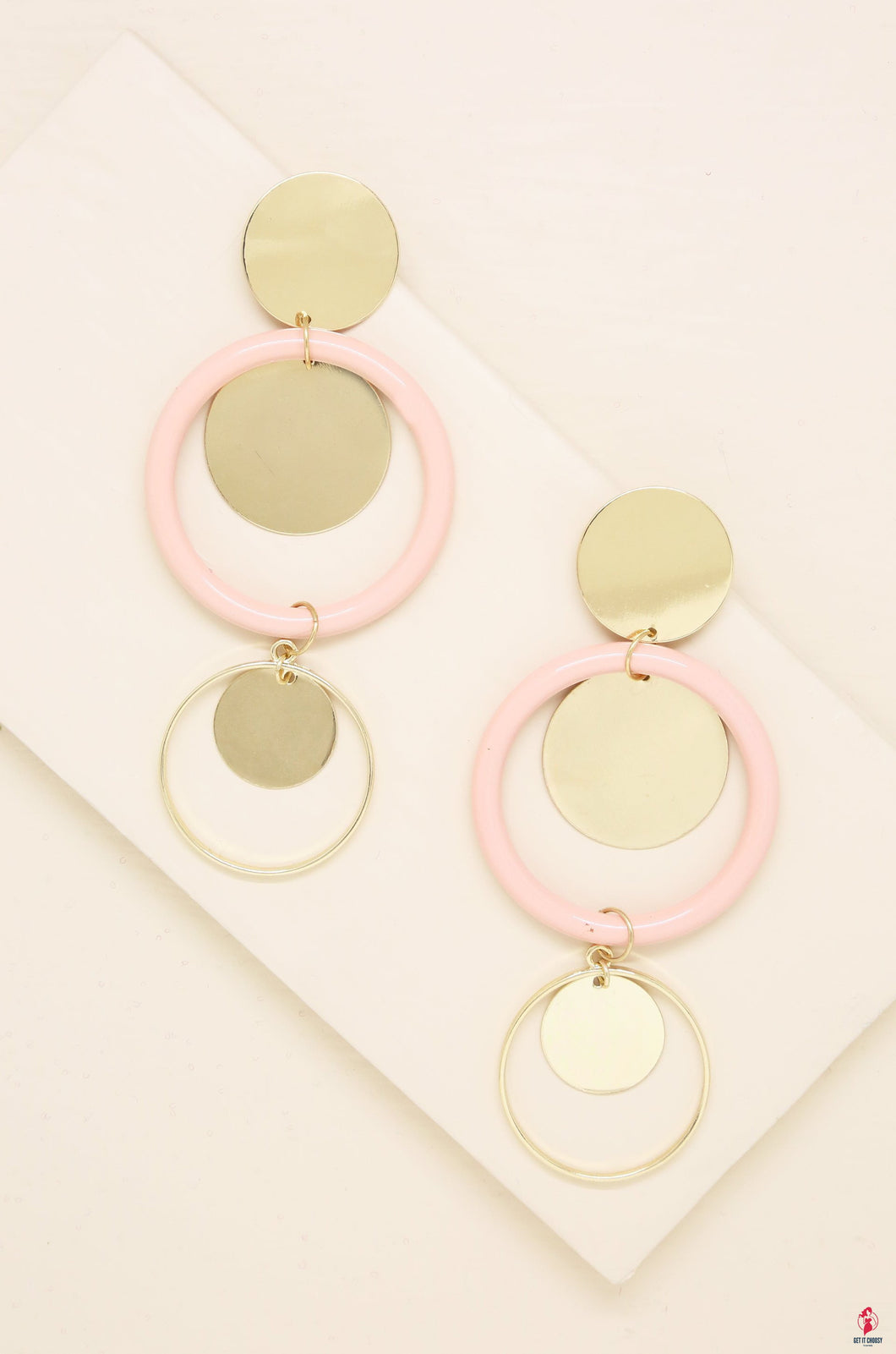 Petunia Earrings in Light Pink and Gold by Getitchoosy