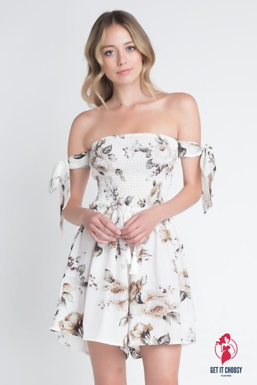 Women's Off Shoulder Smocked Floral Tie Romper by Getitchoosy