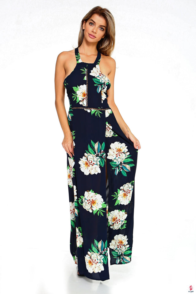 Women's Floral Sleeveless Slit Maxi Dress by Getitchoosy