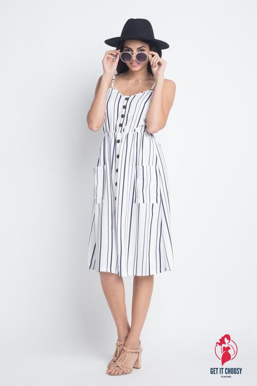 Women's Striped Button Midi Sleeveless Dress by Getitchoosy