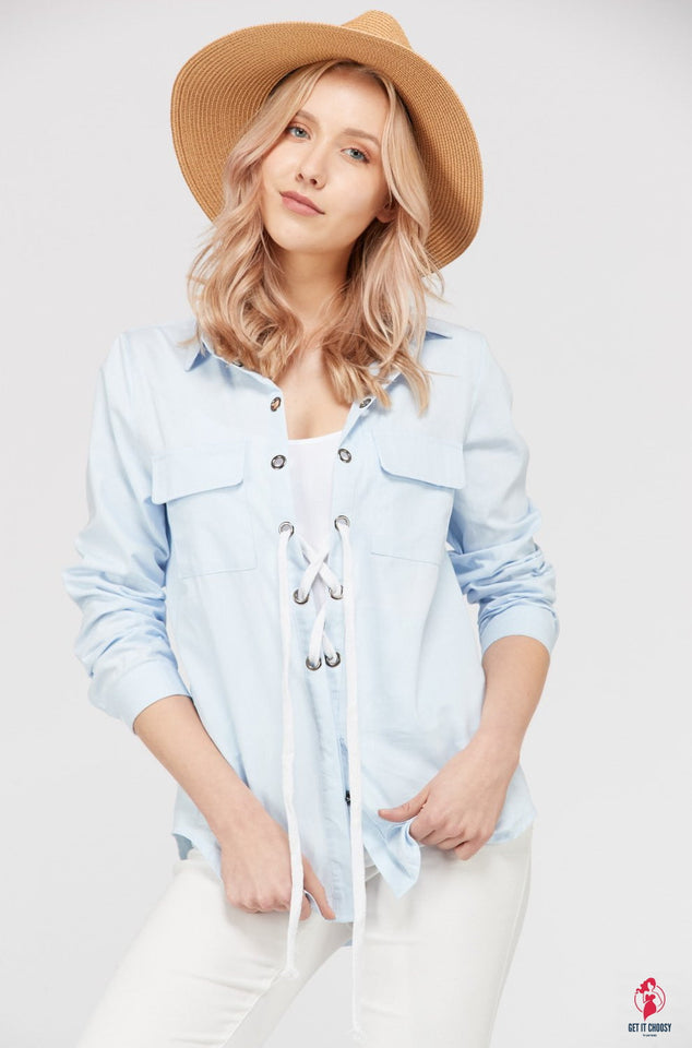Women's Lace Up Blouse Top by Getitchoosy