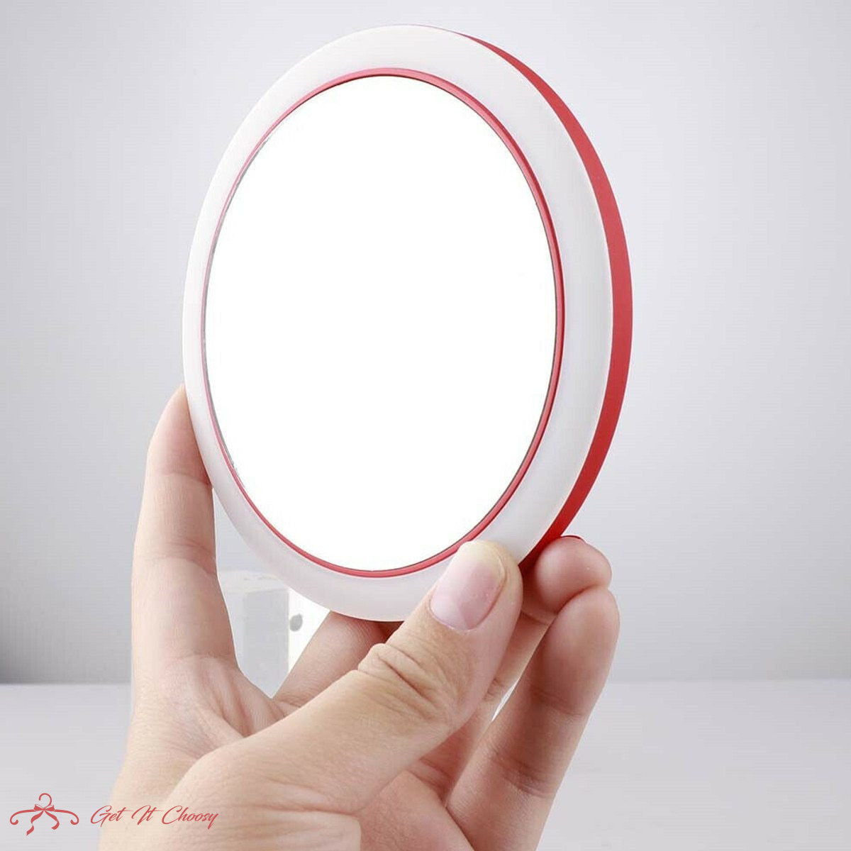 Portable LED Lighted Mini Circular Makeup Mirror Compact Travel Sensing Lighting Cosmetic Mirror Wireless USB Charging by Getitchoosy