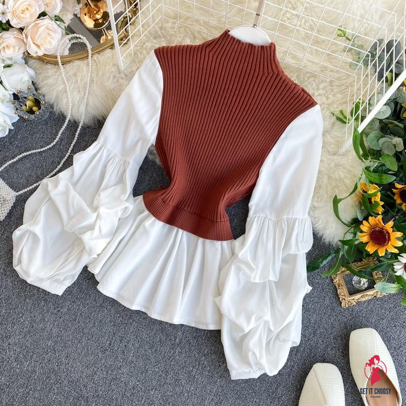Women's Knit Patchwork Fake Two-Piece Tops Slim Fit Lantern Sleeved Shirt Tide Turtleneck Pullovers Sweater Tops