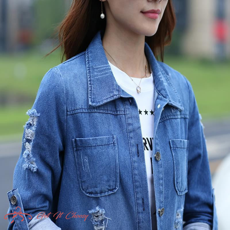 Bigsweety Basic Long Jeans Coats Women Slim Ripped Denim Jacket Femme Elegant Vintage Frayed Jackets Outwear Casacos Feminino by Getitchoosy
