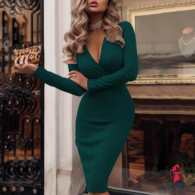 Women Sexy Deep V-neck Wrap Dress Spring Long Sleeve Solid Bodycon Party Dress Elegant Knee-Length Pencil Dresses Vestidos by Getitchoosy