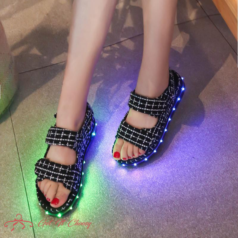 Summer Fashion LED Flash Colorful Flats Sandals Open Toe Platform Sandals Shoes Women Casual Shoes Ladies Beach Shoes by Getitchoosy